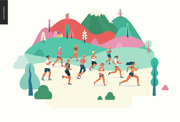 Marathon race group Marathon race group - flat modern vector concept illustration of running men and women wearing sportswer in landscape. Marathon race, 5k run, sprint. Creative landing page design template, web banner race distance stock illustrations