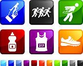 Marathon Race royalty free vector icon set stickers