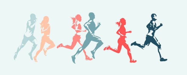 marathon run. group of running people, men and women. isolated vector silhouettes - abstract silhouettes stock illustrations
