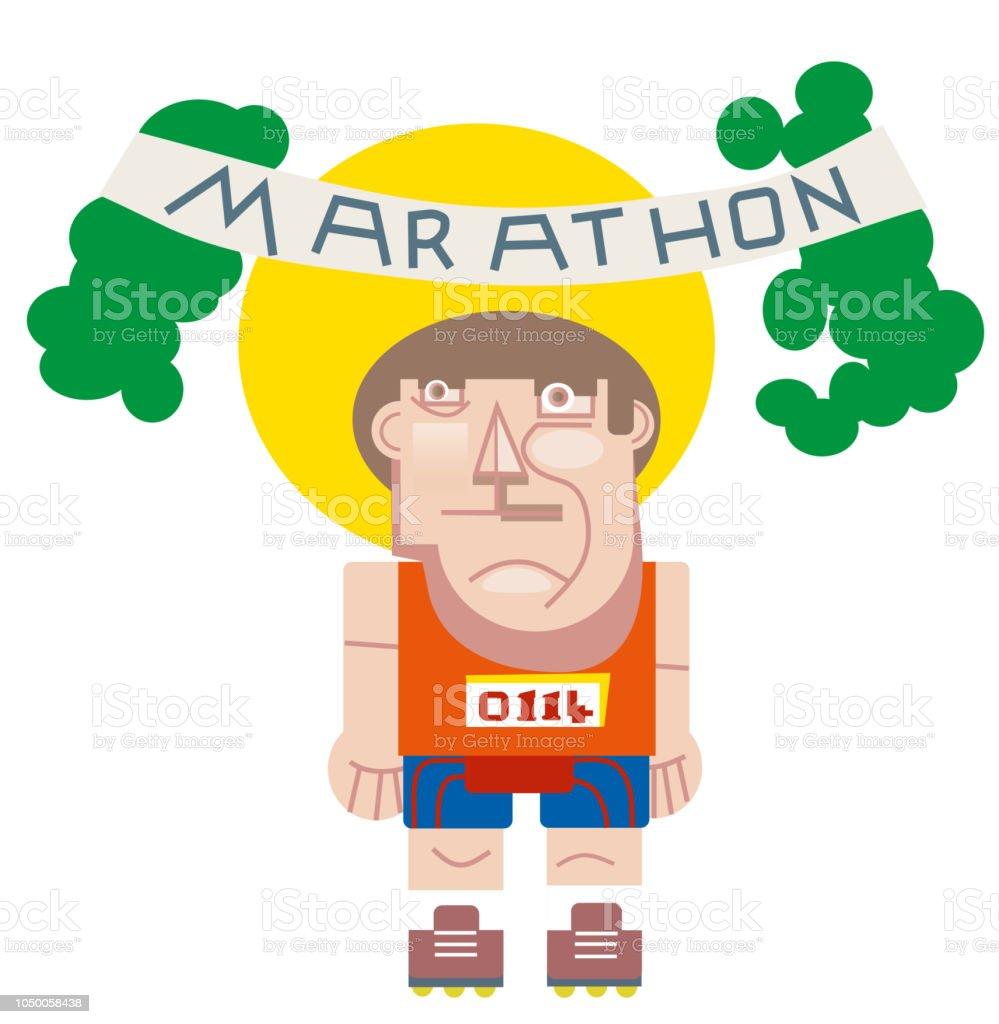 Maraton koşucusu atlet. vektör sanat illüstrasyonu