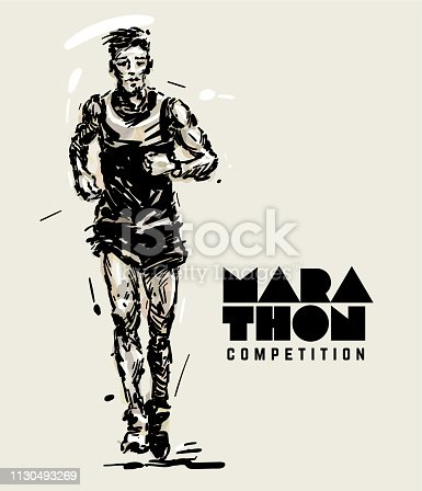 Marathon. Runner. Sketch style vector illustration