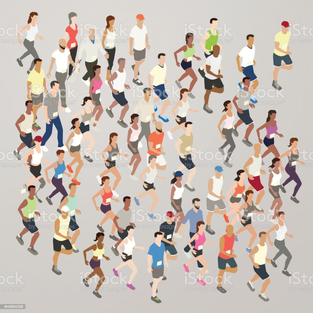 Marathon runners illustration vector art illustration