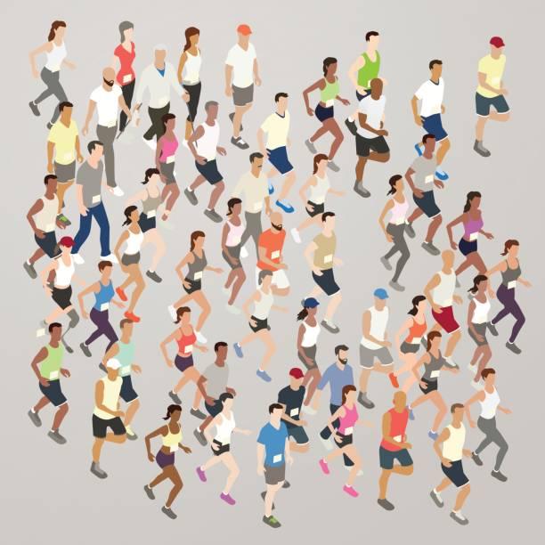Marathon runners illustration vector art illustration