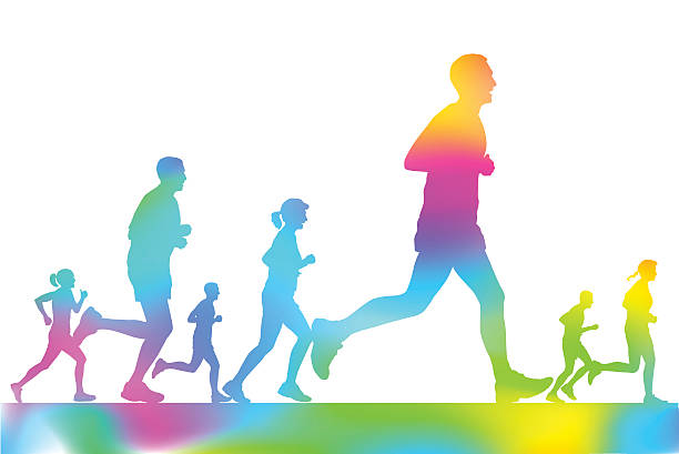 marathon-läufer in der city park - langstreckenlauf stock-grafiken, -clipart, -cartoons und -symbole