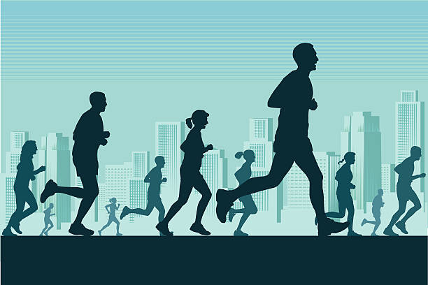 marathon-läufer in der stadt - langstreckenlauf stock-grafiken, -clipart, -cartoons und -symbole