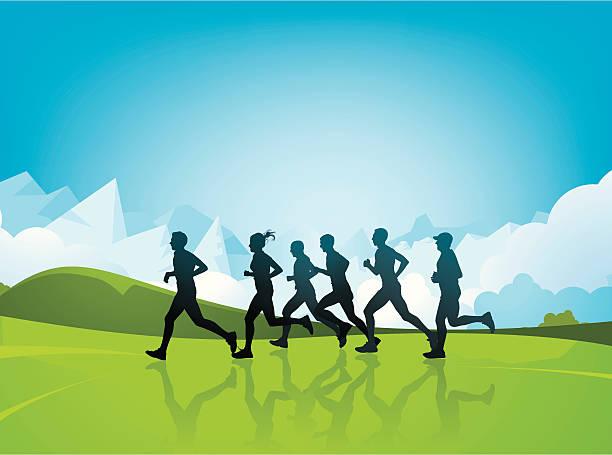 bildbanksillustrationer, clip art samt tecknat material och ikoner med marathon runners - jogging hill