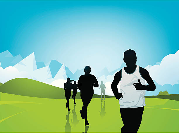 Marathon Runners Layered illustration of runner. cross country running stock illustrations