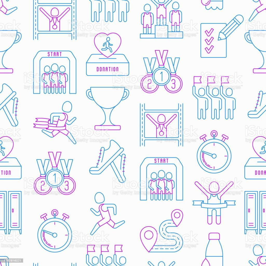 Marathon seamless pattern with thin line icons: runner, start,...