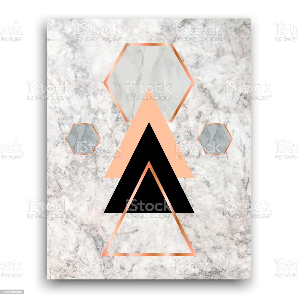 バラの金三角形と六角形の大理石の背景。カード、テンプレート、