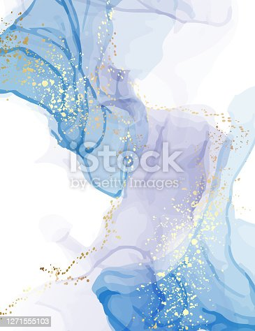 Marble blue watercolor pattern, deep sea color design. Creative gold turquoise alcohol ink  splash. Artistic background.