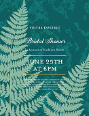 Invite template on a marble Backgrounds with ferns and room for text