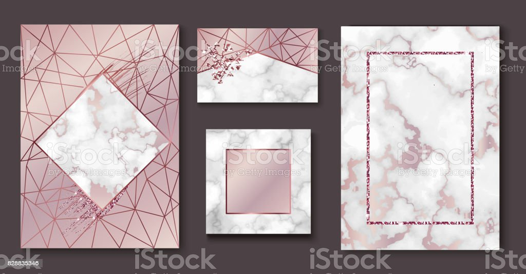 Marble brochure layout, wedding invitation set, business card template or background in trendy minimalistic geometric style, stone, granite, gold rose texture, vector fashion wallpaper, poster, cover vector art illustration