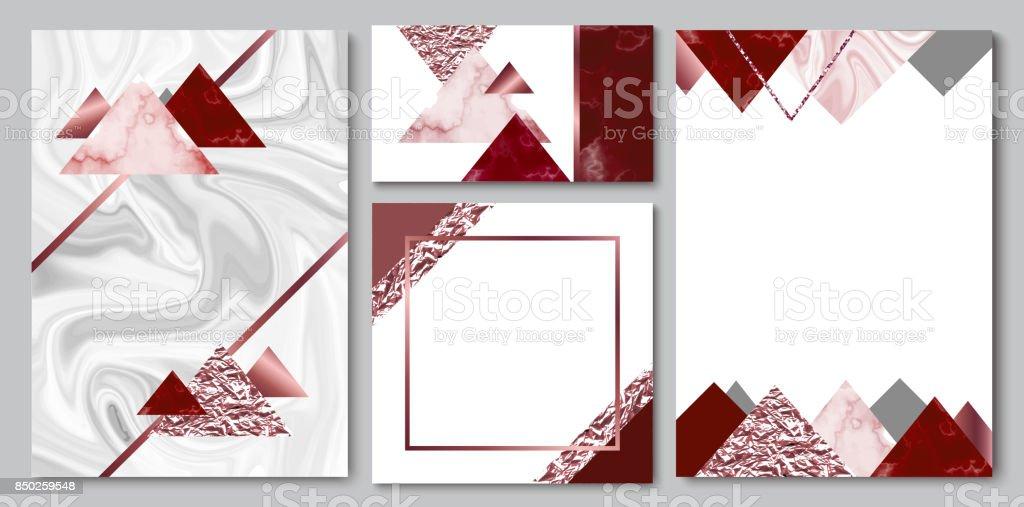 Marmor Broschüre, Hochzeit Einladung Set, Visitenkarte Oder Hintergrund In  Trendigen Minimalistischen Geometrischen Stil