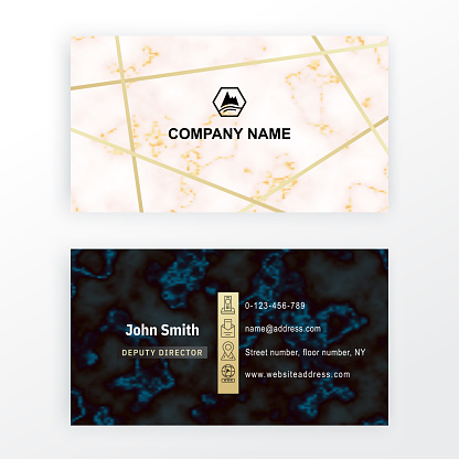 Marble business card. Vector white black marble stone background.