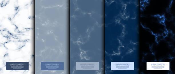 stockillustraties, clipart, cartoons en iconen met marmeren collectie abstracte patroon textuur marineblauwe achtergrond kaart sjabloon vector - marmeren
