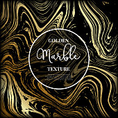 Marble gold and black texture. Abstract modern vector background.