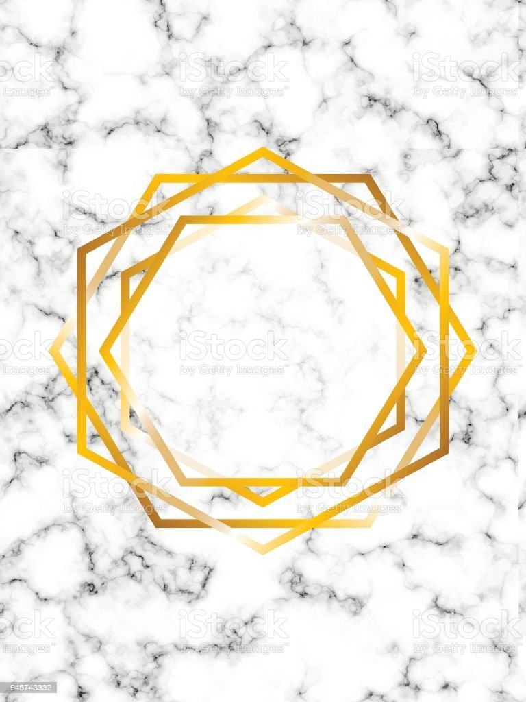 marble illustration background with rose gold hexagons