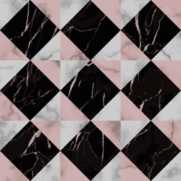 marmor-luxus check nahtlose muster mit diagonalen streifen - granitplatten stock-grafiken, -clipart, -cartoons und -symbole