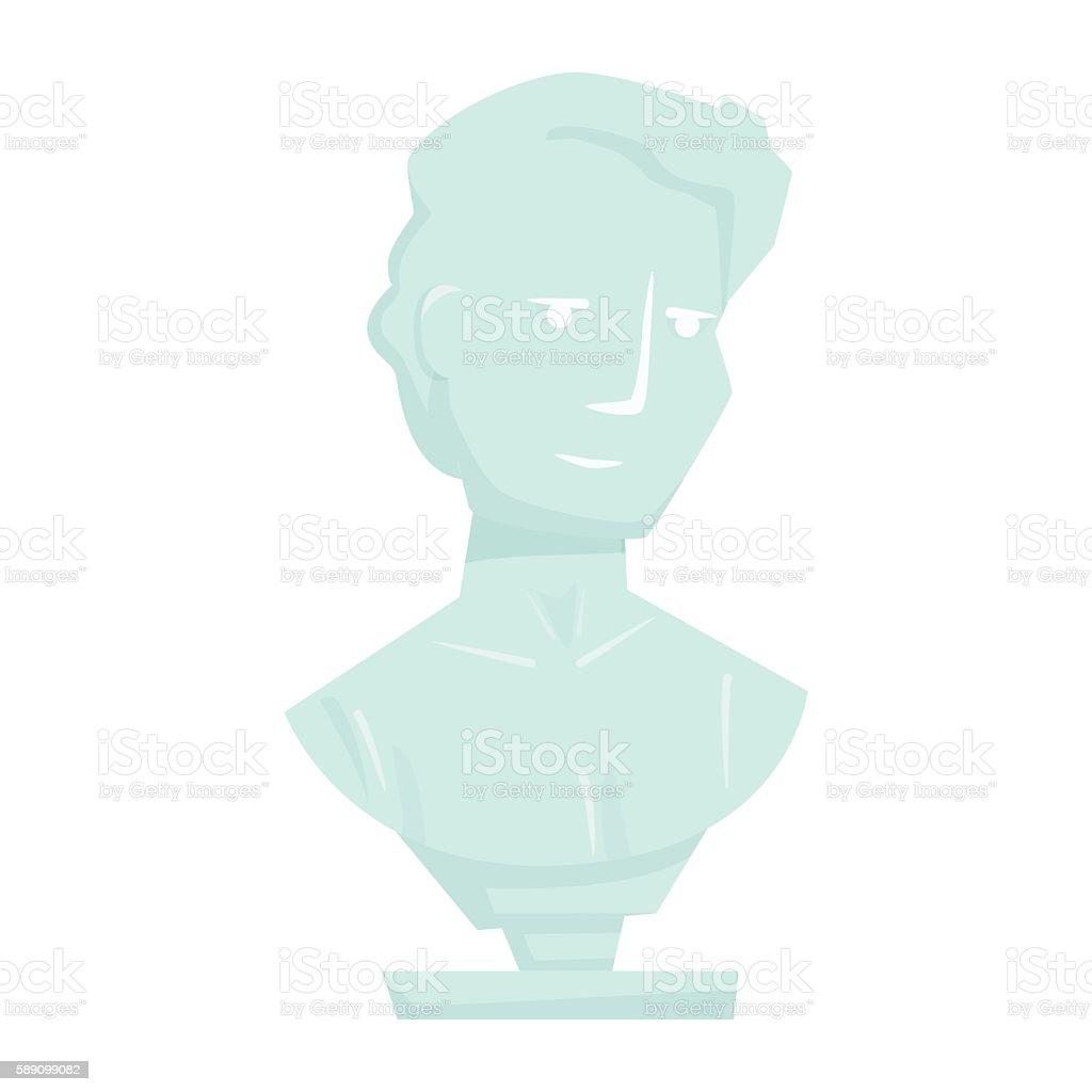 Marble man bust vector art illustration