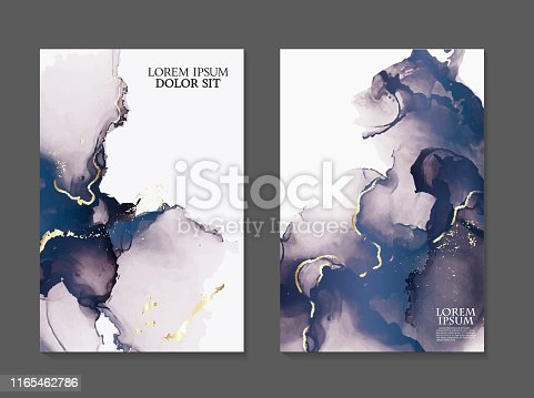 Marble navy watercolor Fluid art. Applicable for design covers, presentation, invitation, flyers, annual reports, posters and business cards. Modern artwork.