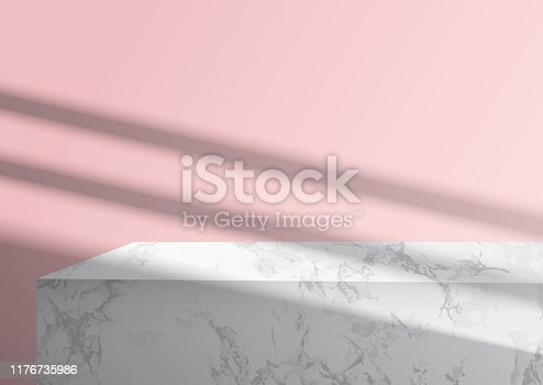 Mockup podium for branding. Pink background and marble pedestal with overlay shadow. 3d vector realistic illustration for product design presentation.