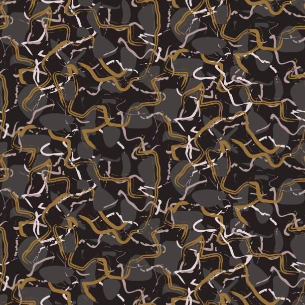 marmor stein schwarz-goldenen streifen vektor nahtlose textur - granitplatten stock-grafiken, -clipart, -cartoons und -symbole