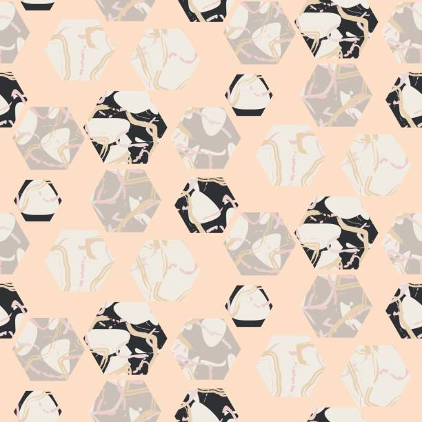 marmor stein sechsecke nahtlose blass rosa vektor textur - granitplatten stock-grafiken, -clipart, -cartoons und -symbole