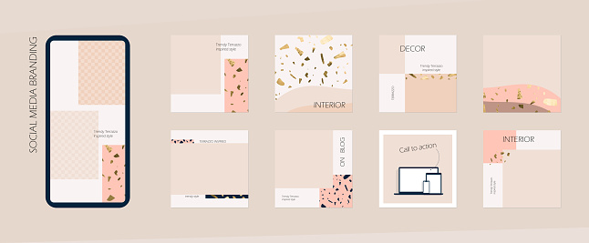 marble terrazzo trend Instagram social media feed branding template. background mockup in nude peach neutral colors. for interior, architecture, beauty, cosmetics, fashion content.