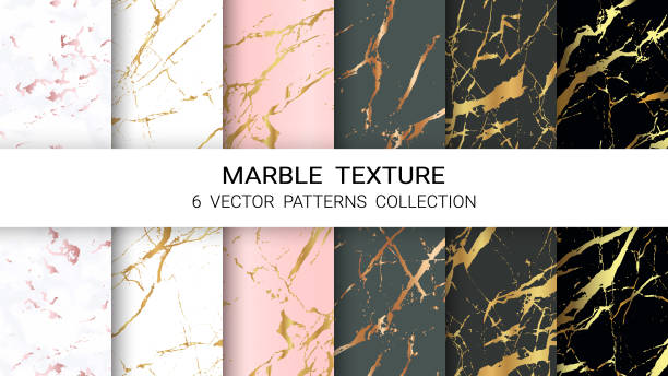 bildbanksillustrationer, clip art samt tecknat material och ikoner med marble textur, premium uppsättning vektor mönster collection, abstrakt bakgrund mall, lämplig för lyx produkter varumärken med guldfolie och linjär stil. - marble