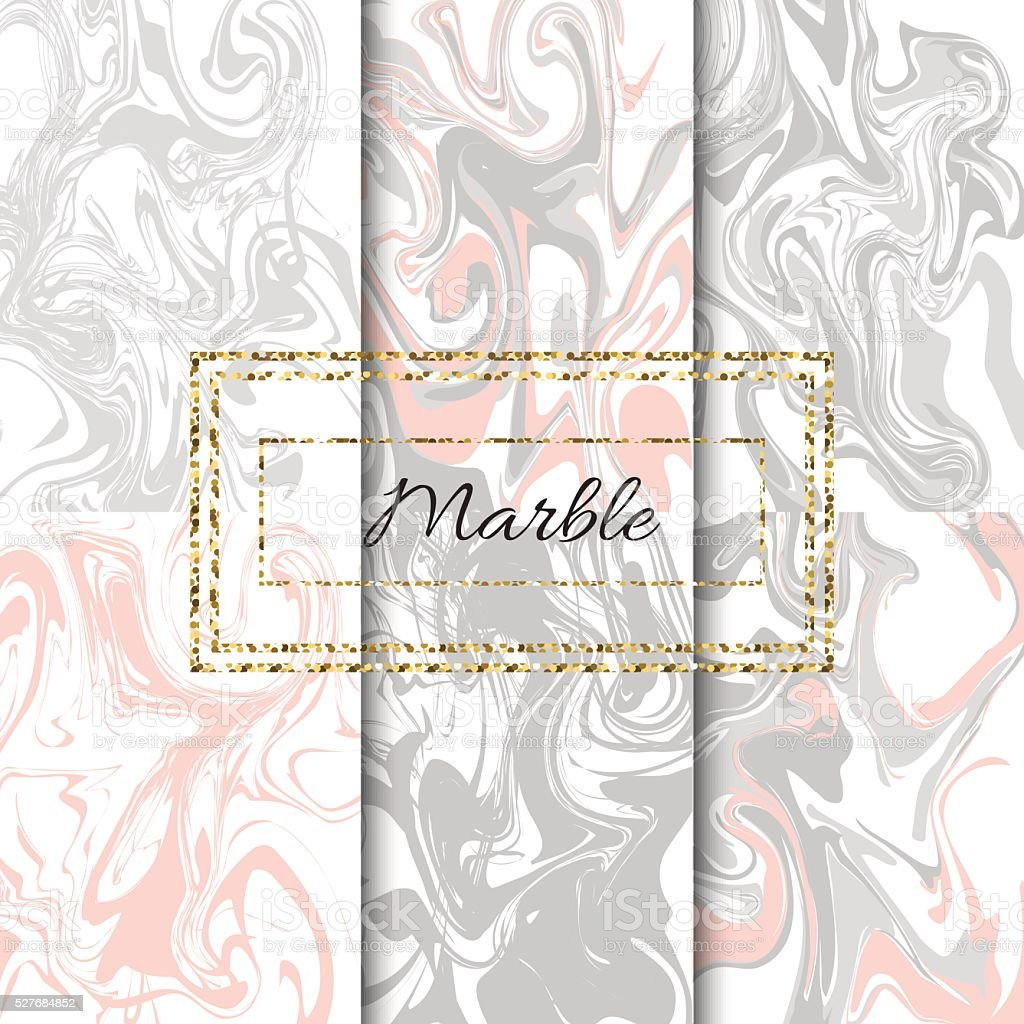 Marble texture vector set. Hand drawn ink marble vector art illustration