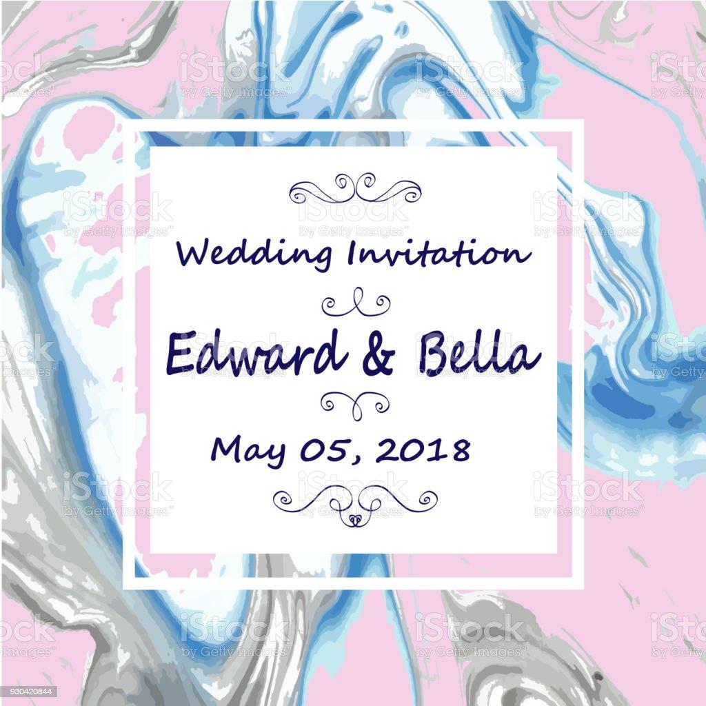 425fd3308ba Convite de casamento em mármore. Abstrato de marmorização textura de  pintados à mão. convite