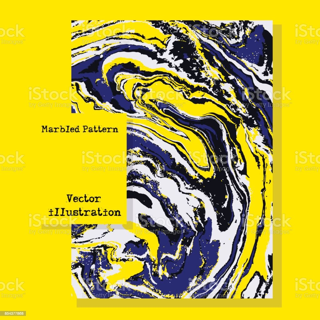 Marbled blue and yellow abstract background. Liquid marble pattern. Vector fluid texture. Business template. vector art illustration