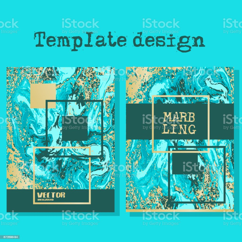 Marbled blue and yellow abstract background. Liquid marble pattern. Vector fluid texture. Business template design. vector art illustration
