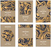 Vector handmade abstract marbling cards, invitations, wedding save the date cards.
