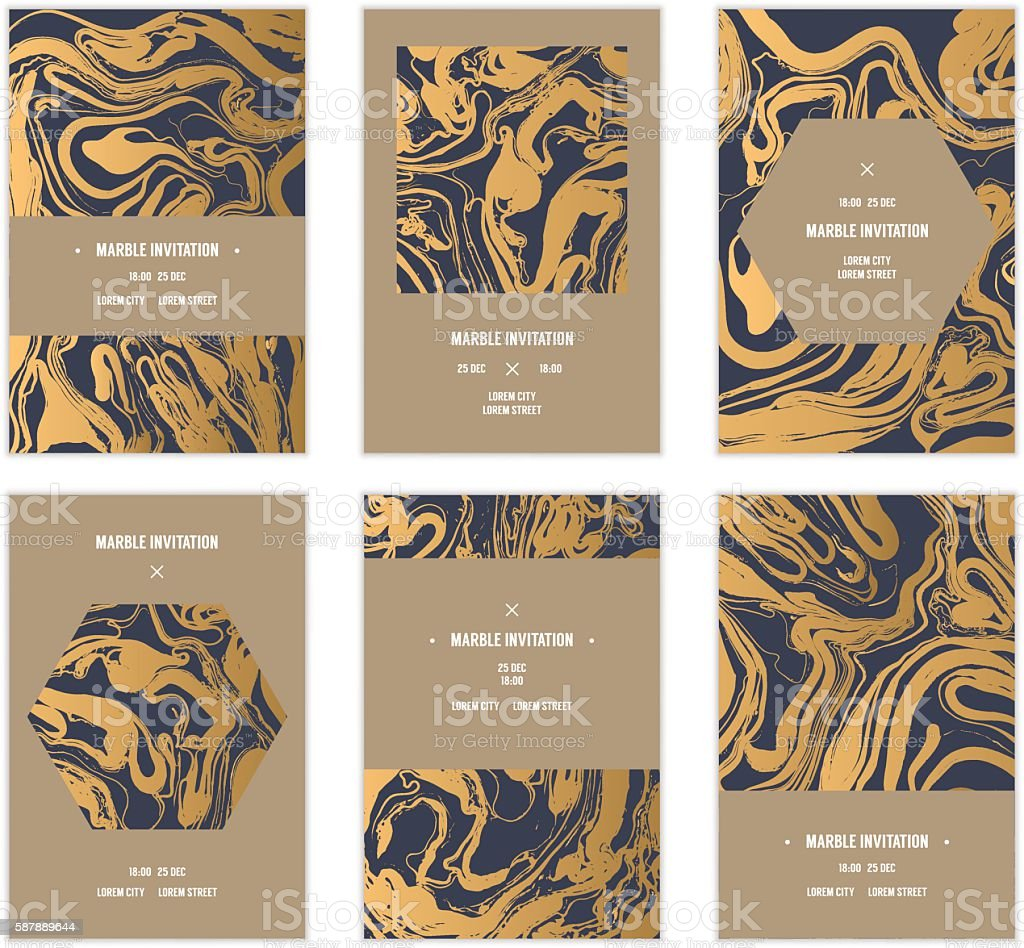 Marbled cards. vector art illustration