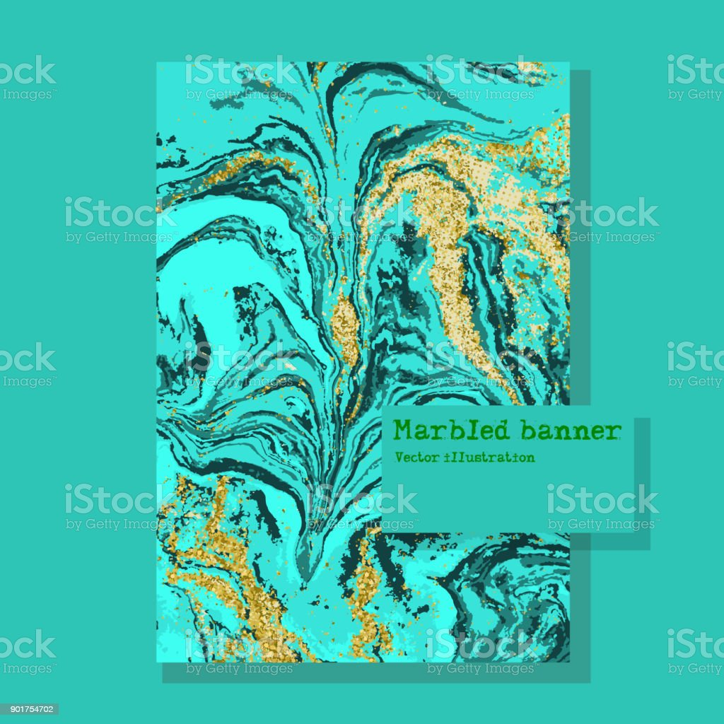 Marbled green and blue abstract background. Liquid marble pattern. Vector fluid texture. Business template design. vector art illustration