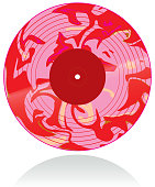 Vector illustration of a marbled vinyl record in pink and red.