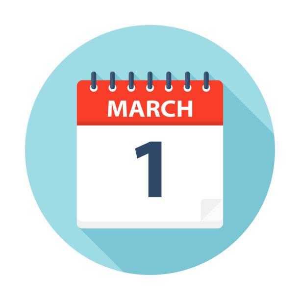 1. märz - kalender-symbol - monatskalender stock-grafiken, -clipart, -cartoons und -symbole