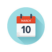 March 10. Vector flat daily calendar icon. Date and time, day, month 2018. Holiday. Season