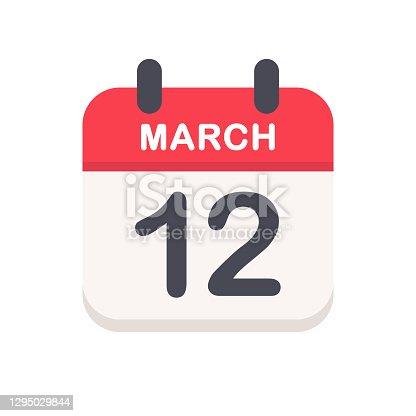 istock March 12 - Calendar Icon 1295029844