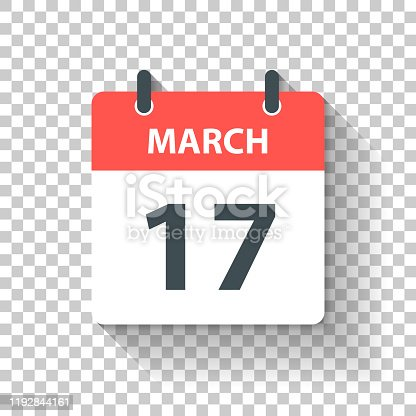 March 17. Calendar Icon with long shadow in a Flat Design style. Daily calendar isolated on blank background for your own design. Vector Illustration (EPS10, well layered and grouped). Easy to edit, manipulate, resize or colorize.