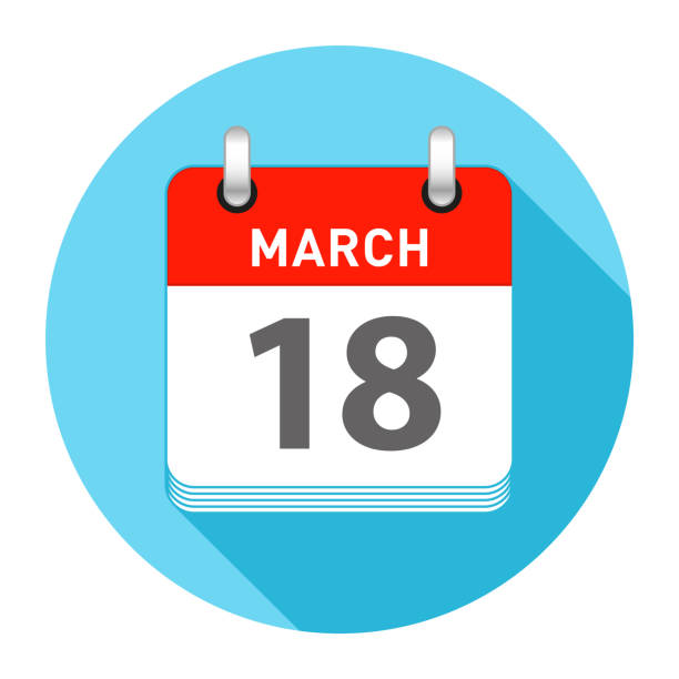 18 mart gün takvim stili - 18 mart stock illustrations, clip art, cartoons, & icons
