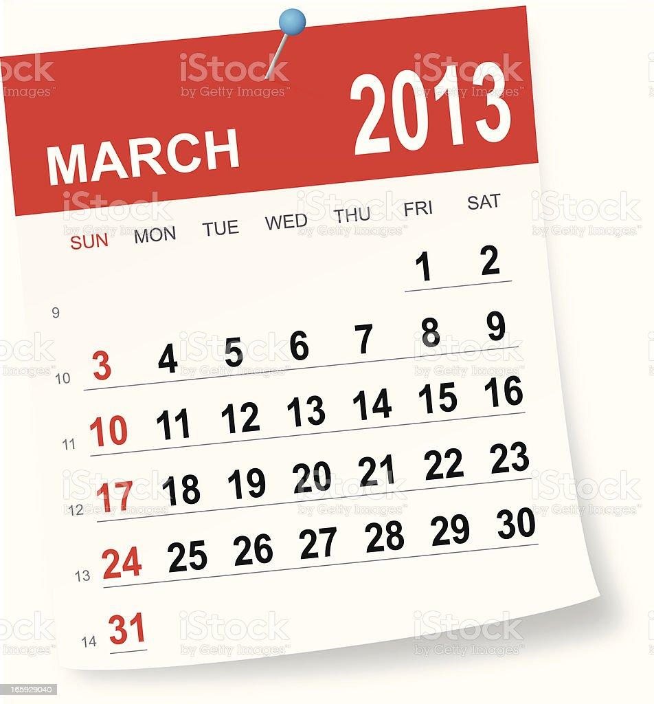 March 2013 calendar vector art illustration