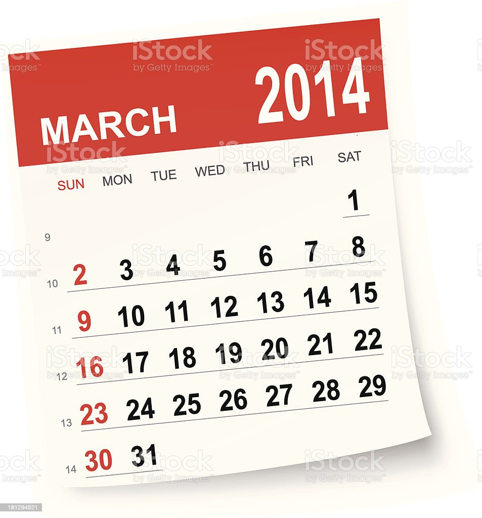 March 2014 calendar royalty-free stock vector art