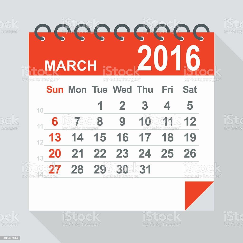 2016 年 3 月のカレンダーのイラストレーション 2015年のベクター