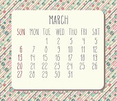 March 2016 vector calendar. Week starting from Sunday. Hand drawn text over colored circles and stripes pattern.