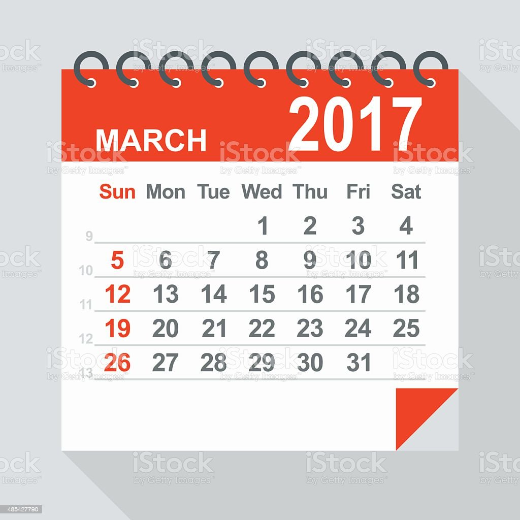 March 2017 Calendar Illustration Stock Vector Art & More ...