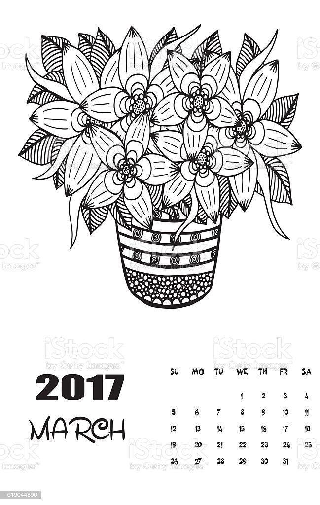 March 2017 Calendar Line Art Black And White Illustration ...