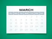 Simple March 2017 calendar design. EPS 10 file. Transparency effects used on highlight elements.