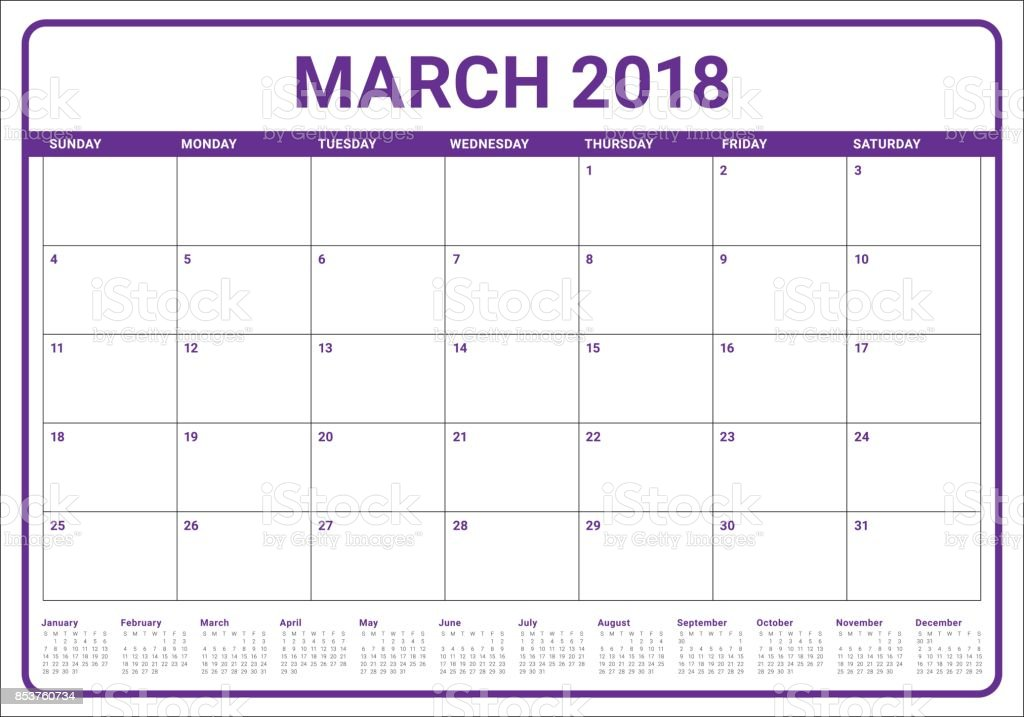 March 2018 Calendar Planner Vector Illustration Stock ...